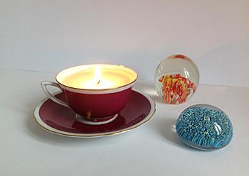 Kerze in der Tasse basteln